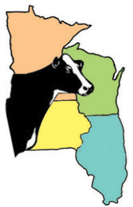 Dairy Cow image super imposed over four midwestern states