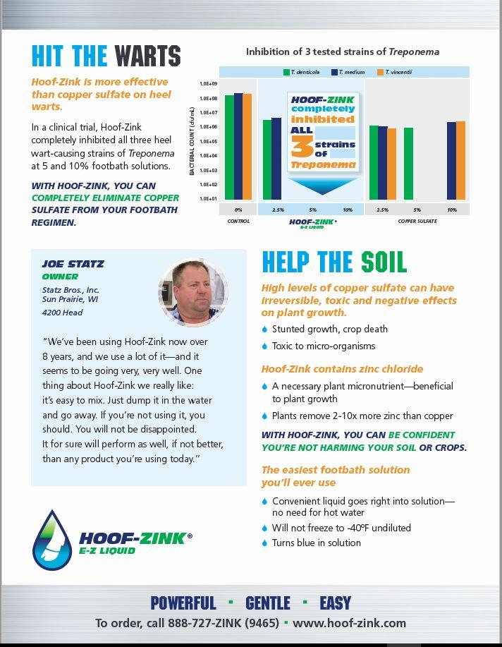 Hit the Warts flier image | Hoof-zink, helps prevent hoof warts in dairy cattle.